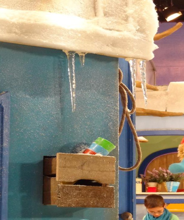 icicles with artificial snow