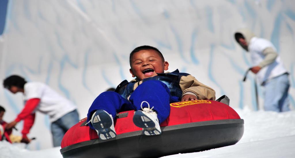 Kids Having fun with polar snow