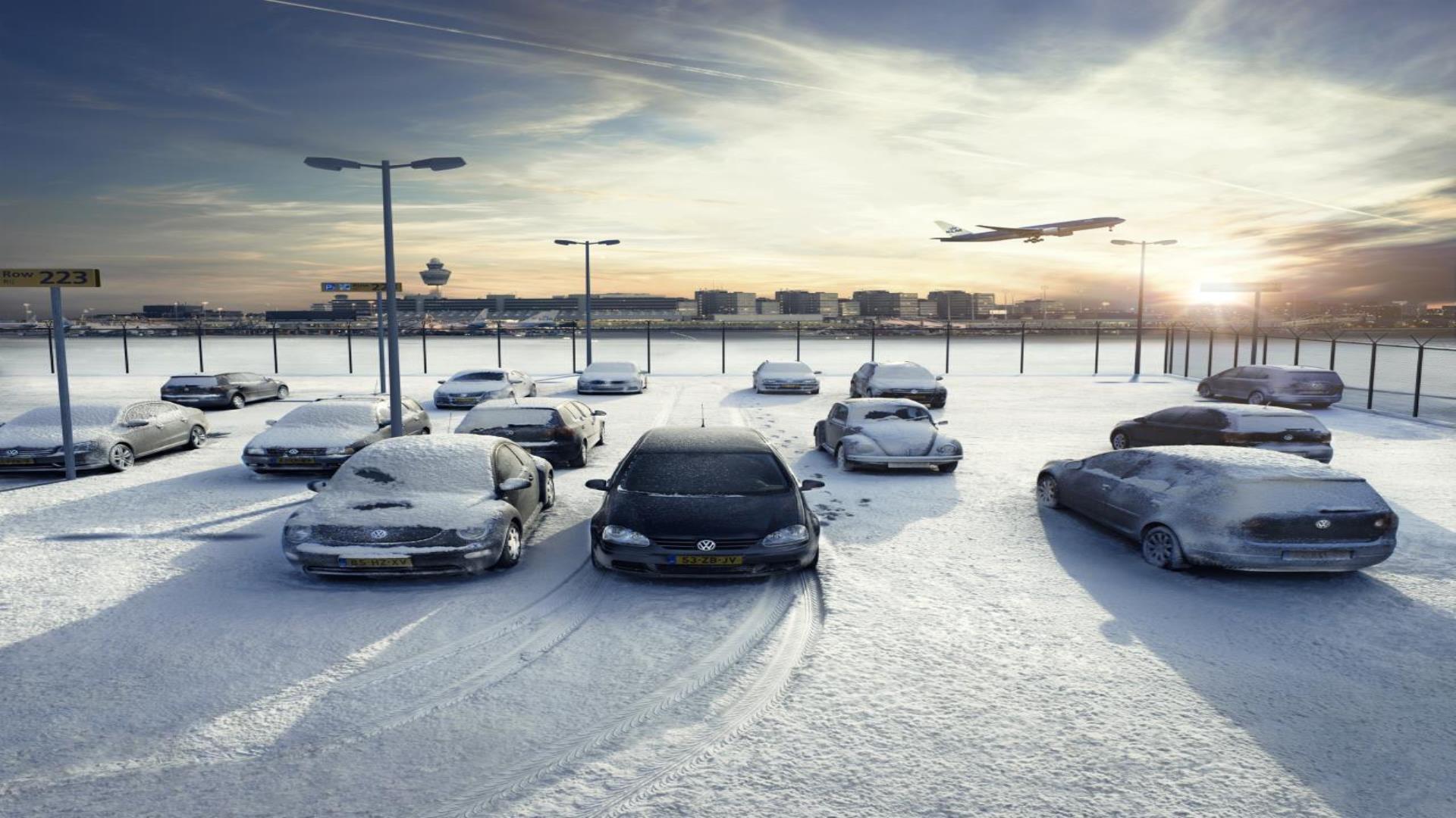 Sneeuw voor Volkswagen reclame